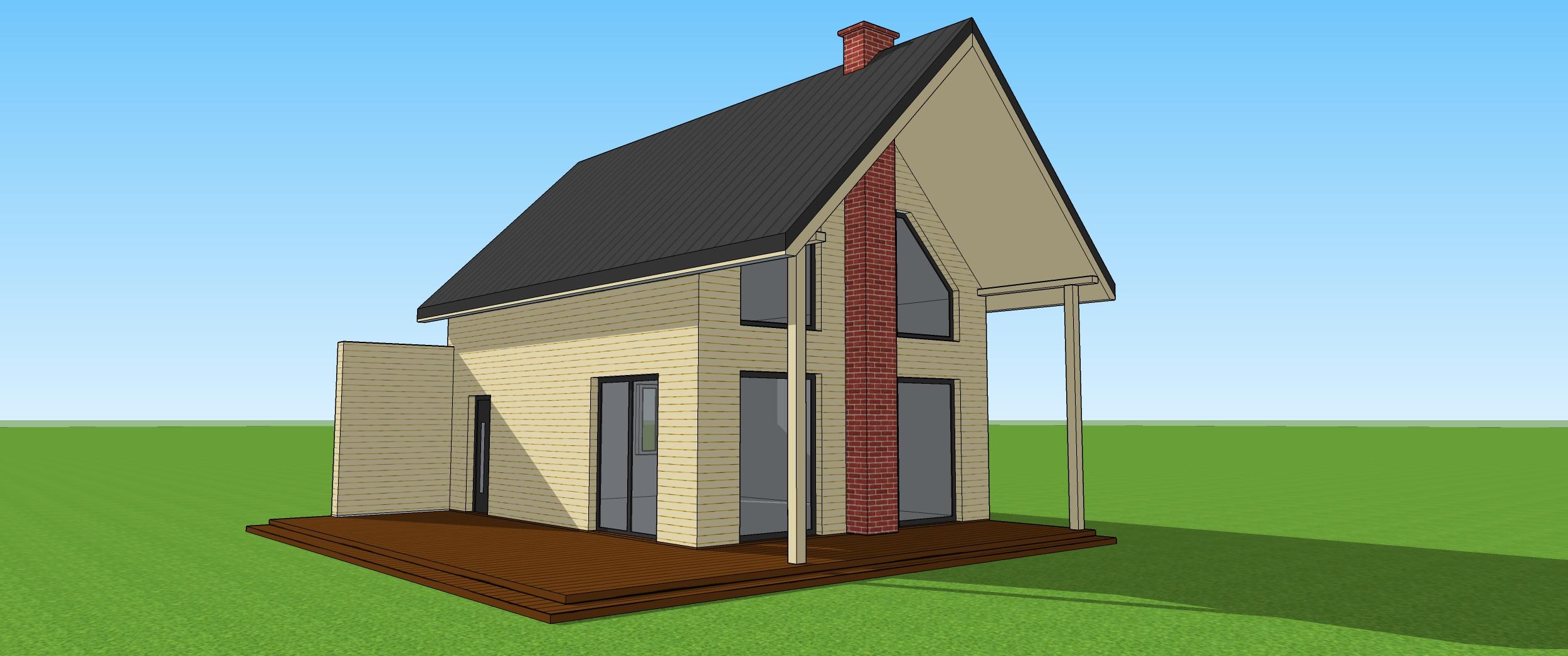 Wizualizacja domku szkieletowego z dachem dwuspadowym