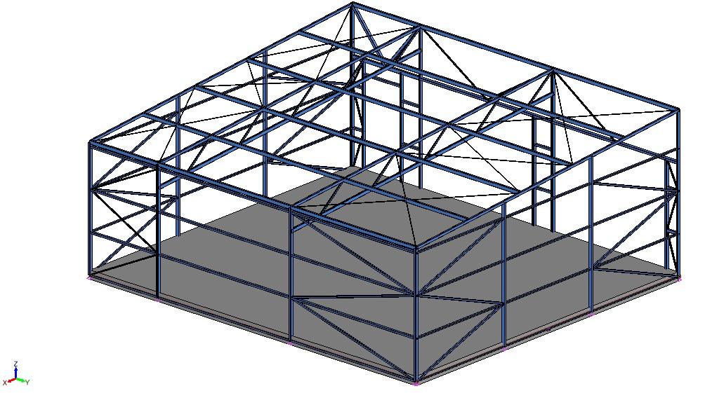 Konstrukcjs stalowa budynku garażu