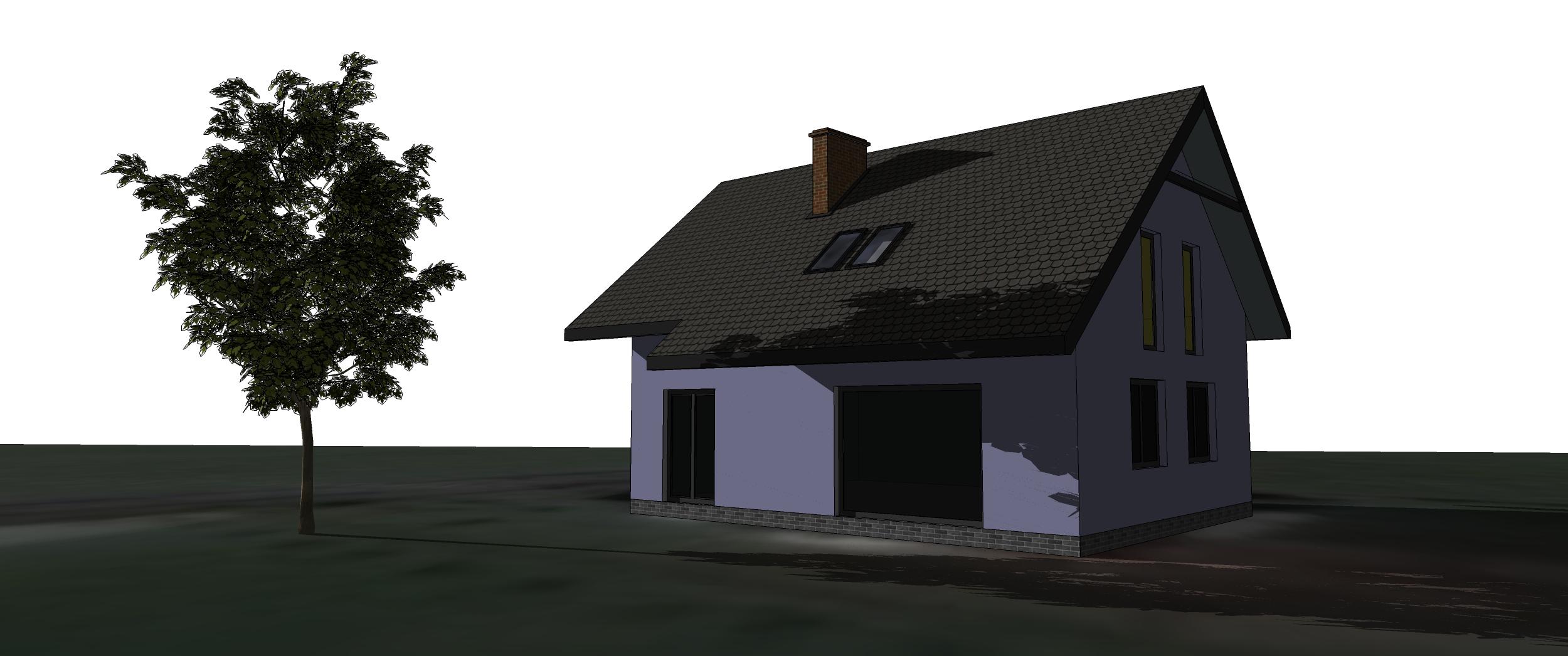 Wizualizacja domku z dachem dwuspadowym