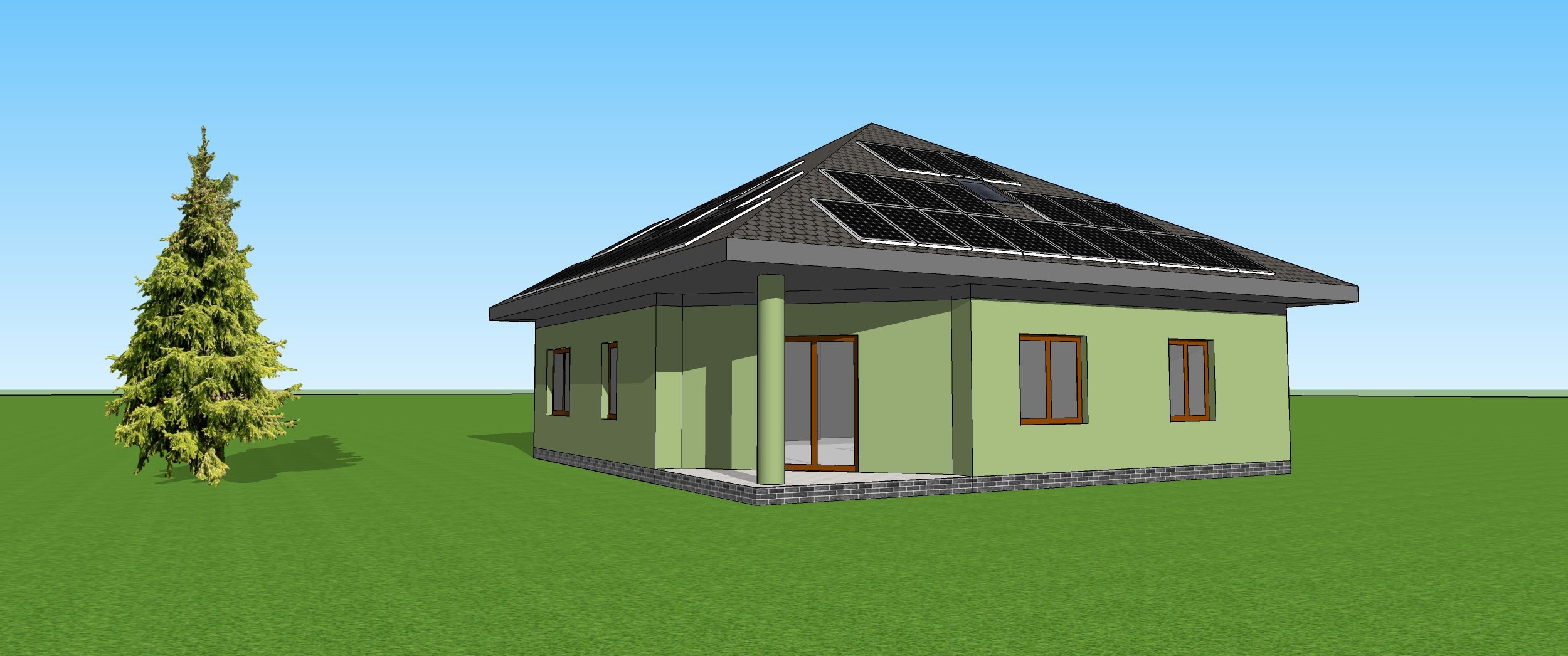 Wizualizacja domku z dachem czteropadowym
