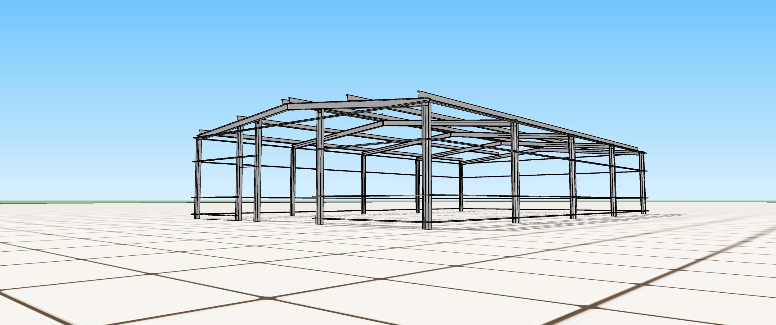 Model konstrukcji hali jednonawowej
